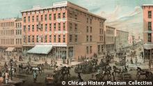 Die Strassenecke Lake and Wells Street in Chicago Mitte des 19. Jahrhunderts (Foto: Chicago History Museum)