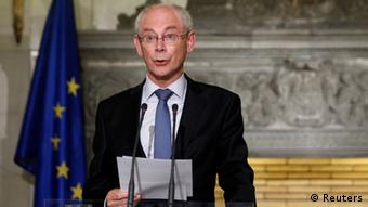 Visiting European Council chairman Rompuy addresses reporters during a news conference in Athens September 7, 2012. Greece must focus on structural reforms, including taking on vested interests, European Council President Herman Van Rompuy said during a visit to Athens on Friday. REUTERS/John Kolesidis (GREECE - Tags: POLITICS BUSINESS)
