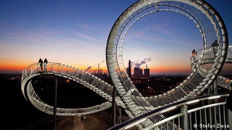 "The large rollercoaster sculpture, ""Tiger & Turtle – Magic Mountain"" just south of Duisburg"