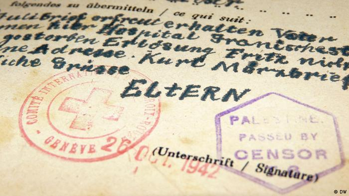 A letter sent from Naveh's parents in Theresienstadt concentration camp Private collection of Dr. Michael Naveh. Photo: DW/Aya Bach Date: August 2012
