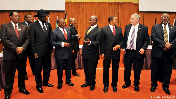 (L-R) South Sudan's President, Salva Kiir, Democratic Republic of Congo's President Joseph Kabila, Uganda's President Yoweri Museveni, and Tanzania's President Jakaya Kikwete talk during the Great Lakes Summit in Kampala on August 8, 2012. The summit opened today and will focus on security in Eastern Democratic Republic of Congo. AFP PHOTO/PETER BUSOMOKE (Photo credit should read PETER BUSOMOKE/AFP/GettyImages)