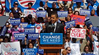 Democratic presidential nominee U.S. Sen. Barack Obama (D-IL) elaborates on his ideas for the Health Care reform before a group of nearly 10,000 supporters during a campaign rally at Victory Landing Park October 4, 2008 in Newport News, Virginia. Obama is continuing to campaign ahead of the November 4th election. (Photo by Gary Knapp/Getty Images)