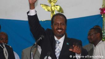 Mohamud celebrates victory. Photo: REUTERS/Feisal Omar