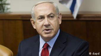 Netanyahu gestures at a cabinet meeting in Jerusalem. Photo:Menahem Kahana, Pool/AP/dapd)