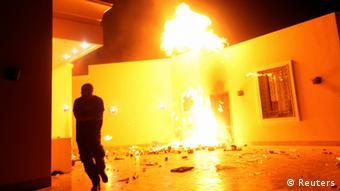 The U.S. Consulate in Benghazi is seen in flames on September 11, 2012. Photo: REUTERS/Esam Al-Fetori
