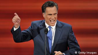 Mitt Romney, former Republican presidential candidate and governor of Massachussetts, speaks at the Republican National Convention 2008 at the Xcel Energy Center in St. Paul, Minnesota, on September 03, 2008. AFP PHOTO Paul J. RICHARDS (Photo credit should read PAUL J. RICHARDS/AFP/Getty Images)