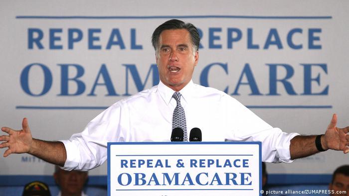 Obamacare aufheben und ersetzen fordert im Juni 2012 der damalige republikanische Präsidentschaftskandidat Mitt Romney