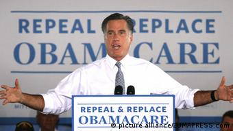 June 12, 2012 - Orlando, Florida, U.S. - GOP presidential contender MITT ROMNEY delivers remarks during a town hall meeting at Con-Air Industries, an air filtration business in front of a sign that reads 'Repeal Replace Obamacare