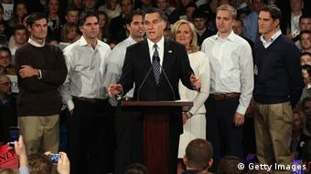 MANCHESTER, NH - JANUARY 10: Republican presidential candidate and former Massachusetts Gov. Mitt Romney (C) speaks during his primary night rally with members of his family, (L-R) Matt, Tagg, Craig, wife Ann, Ben and Josh Romney following the first in the nation primary at Southern New Hampshire University January 10, 2012 in Manchester, New Hampshire. According to early results, Romney finished first in the state's primary election. Romney has led a field of six GOP candidates in the polls by double digits going into to the primary, a second important test for presidential hopefuls. (Photo by Win McNamee/Getty Images)