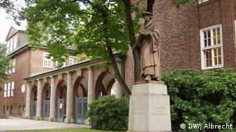 The brick-red Johanneum school in Hamburg