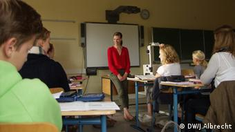 Anna Schünemann with her students in Latin class