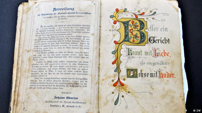 An old German book with colorfully decorated letters