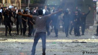 A protester shouts slogans during clashes with riot police near the US embassy in Cairo Copyright: REUTERS/Amr Abdallah Dalsh