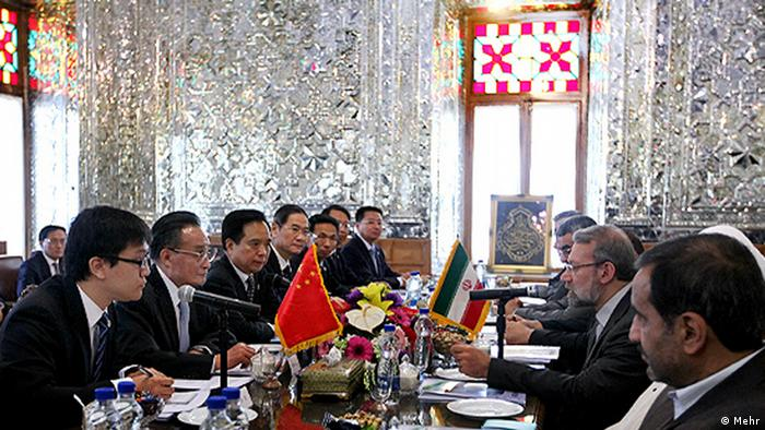 China's People's Congress meets Ali Larijani, Iran's parliamentary leaders (Photo: Mehr)