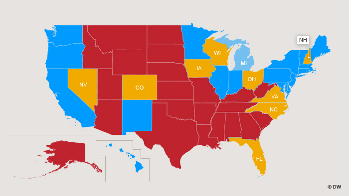 Die entscheidung fällt in den sogenannten swing states gelb markiert