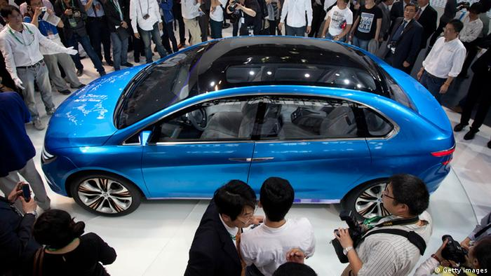 The Denza electric car -- a joint creation by Daimler and Chinese manufacturer BYD -- is unveiled at Auto China 2012 car show in Beijing AFP PHOTO / Ed Jones (Photo credit should read Ed Jones/AFP/Getty Images)