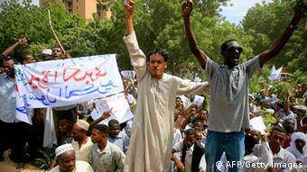 Sudanese demonstrators shout slogans during a protest against an amateur film mocking Islam outside the German embassy in Khartoum on September 14, 2012. The low-budget movie called Innocence of Muslims, which ridicules the Prophet Mohammed and portrays Muslims as immoral and gratuitously violent, has triggered protests in several countries. AFP PHOTO / ASHRAF SHAZLY (Photo credit should read ASHRAF SHAZLY/AFP/GettyImages)