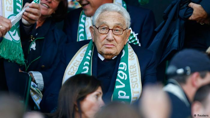 Henry Kissinger, former US foreign secretary and Nobel prize winner waits for the start of the German first division Bundesliga soccer match of his former club Spvgg Greuther Fuerth against Schalke 04 in Fuerth, September 15, 2012. REUTERS/Kai Pfaffenbach (GERMANY - Tags: SPORT SOCCER) DFL RULES TO LIMIT THE ONLINE USAGE DURING MATCH TIME TO 15 PICTURES PER GAME. IMAGE SEQUENCES TO SIMULATE VIDEO IS NOT ALLOWED AT ANY TIME. FOR FURTHER QUERIES PLEASE CONTACT DFL DIRECTLY AT + 49 69 650050
