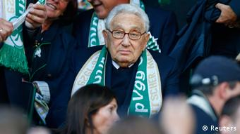 Henry Kissinger, former US foreign secretary and Nobel prize winner waits for the start of the German first division Bundesliga soccer match of his former club Spvgg Greuther Fürth against Schalke 04 in Fuerth, September 15, 2012. REUTERS/Kai Pfaffenbach