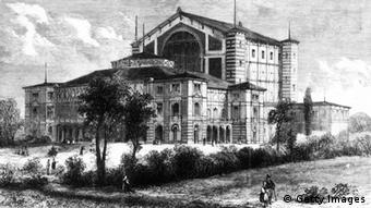 The Festspielhaus or Festival House in Bayreuth, Bavaria, shortly before it was officially opened with a performance of Richard Wagner's operatic tetralogy 'The Ring of the Nibelungen', conducted by Franz Liszt. Original Publication: The Graphic - Exterior Of The Theatre - pub. 1876 (Photo by Hulton Archive/Getty Images)
