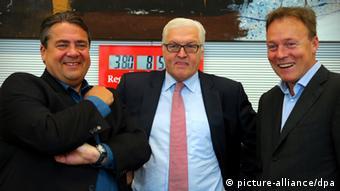 SPD's Sigmar Gabriel, Frank-Walter Steinmeier, and Thomas Oppermann Photo: Wolfgang Kumm dpa/lbn