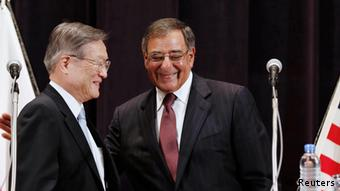 US Secretary of Defense Leon Panetta (R) and Japan's Minister of Defense Satoshi Morimoto smile at the end of a joint news conference at the Ministry of Defense in Tokyo, September 17, 2012 Photo: REUTERS/Larry Downing (JAPAN - Tags: POLITICS MILITARY)