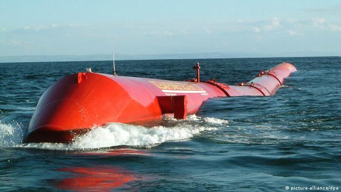 Pelamis, by the Edinburgh firm Pelamis Power, off the coast of Orkney.