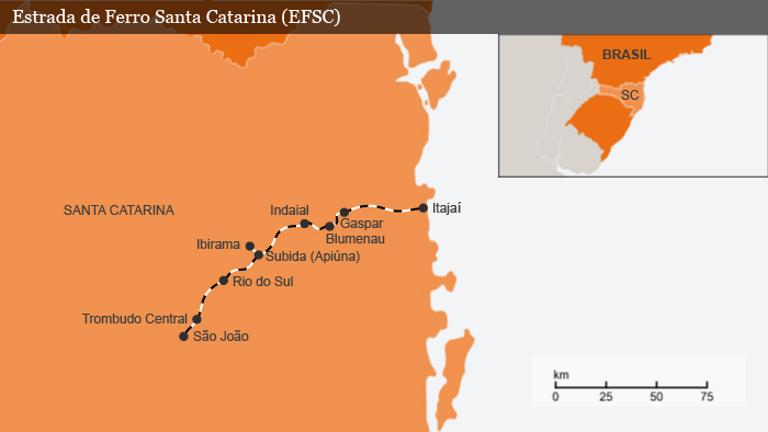 Infografik Karte Brasilien Eisenbahnline im Bundesstaat Santa Catarina BRA