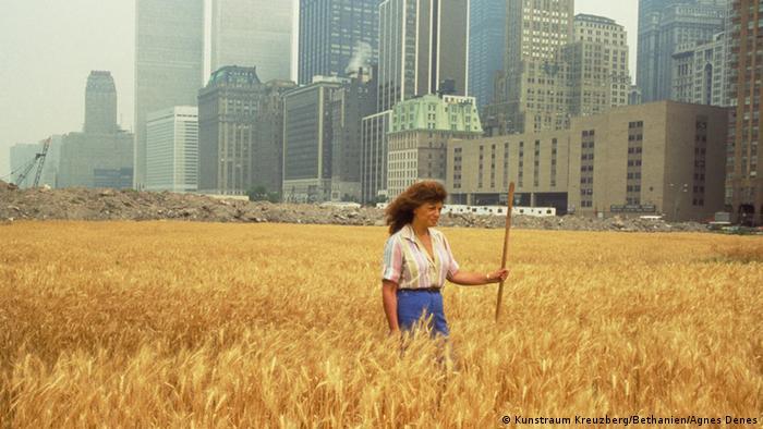 Artwork showing a wheatfield near Wallstreet in New York in 1982. Photo credit: Kunstraum Kreuzberg/Bethanien/Agnes Denes.