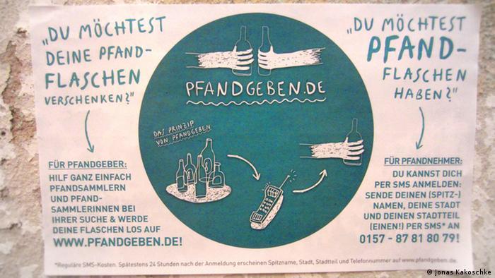 Pfandgeben Flyer Das Copyright liegt bei Jonas Kakoschke, entstanden sind sie in Berlin, mit folgender Mail hat er die Fotos freigegeben. an beiden fotos habe ich alle rechte und stelle sie der deutschen welle gern für besagte nutzung (pfandgeben-artikel) zur verfügung.