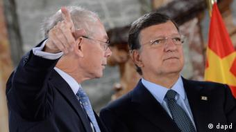 European Commission President Jose Manuel Barroso, right, speaks with European Council President Herman Van Rompuy during an EU-China summit in Brussels on Thursday, Sept. 20, 2012. (AP Photo/John Thys, Pool)