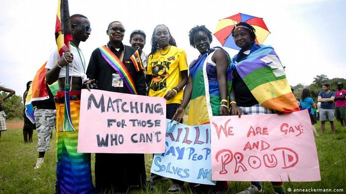 Schwulen Aktivisten bei der erste Gay Pride in Kampala, Uganda im August 2012. (Foto: Anne Ackermann)