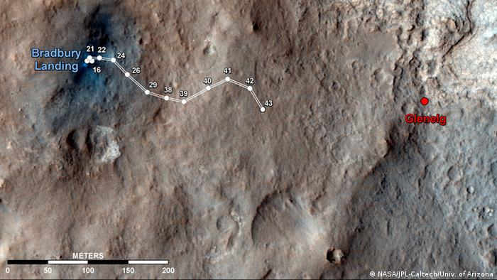 Bisherige Route von Curiosity Quelle: http://www.nasa.gov/mission_pages
