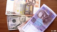 Geldscheine Grivna, Euro und Dollar