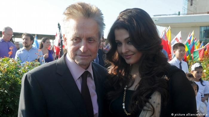 Michael Douglas and Aishwarya Rai Bachchan attend the Peace Bell ceremony for International Peace Day in New York, NY on September 21, 2012. Photo by Dennis Van Tine / ABACAUSA.COM
