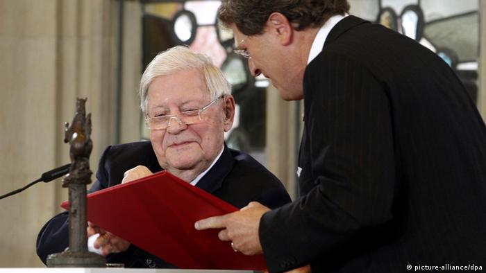 Altkanzler Helmut Schmidt Verleihung Westfälischer Friedenspreis