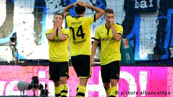 Dortmund players were dismayed at their loss in Hamburg