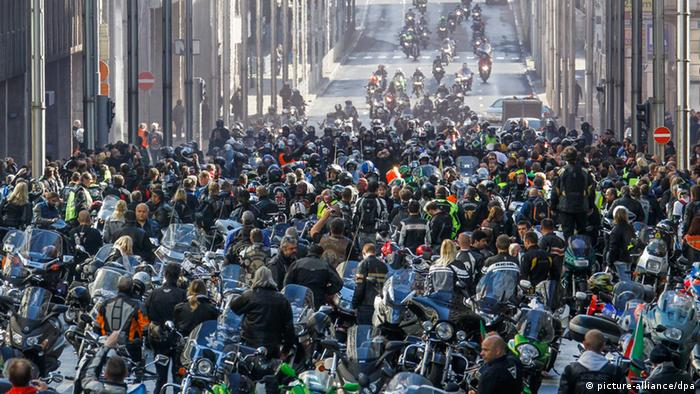 European bikers take part in a protest in Brussels, Belgium, 22 September 2012. Reports state that thousands of bikers gathered in Brussels to protest against an European Commission proposal which will include all types of two wheel powered vehicles to receive regulatory periodic roadworthiness tests and will call for mandatory technical inspections for all motorcycles. EPA/THIERRY ROGE