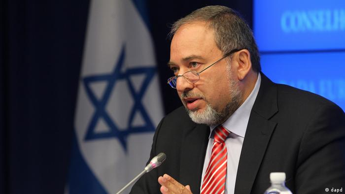 Israeli Foreign Minister Avigdor Lieberman addresses the media after he attended the EU Israel Council at the European Council building in Brussels, Tuesday, July 24, 2012. Lieberman is on a two-day visit to meet with the EU Council. (AP Photo/Yves Logghe)