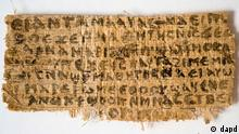 This Sept. 5, 2012 photo released by Harvard University shows a fourth century fragment of papyrus that divinity professor Karen L. King says is the only existing ancient text that quotes Jesus explicitly referring to having a wife. King, an expert in the history of Christianity, says the text contains a dialogue in which Jesus refers to my wife, whom he identified as Mary. King says the fragment of Coptic script is a copy of a gospel, probably written in Greek in the second century. (Foto:Harvard University, Karen L. King/AP/dapd)