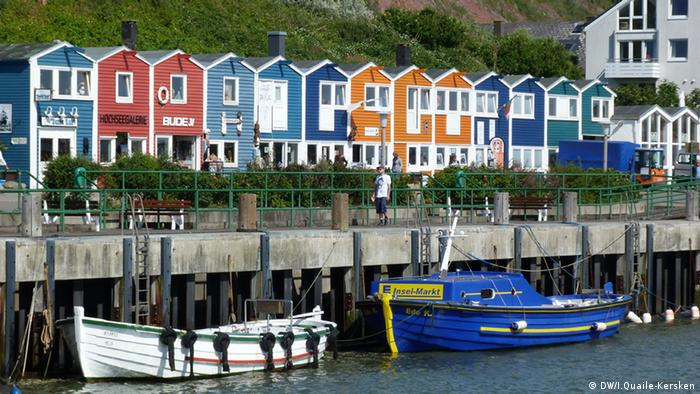 Skyline of colorful houses at the Harbor of Heligoland