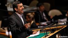 Iranian President Mahmoud Ahmadinejad speaking before the UN; previously, he and his regime had warned that Sharp was planning a 'velvet revolution' in the country  Copyright: REUTERS/Shannon Stapleton