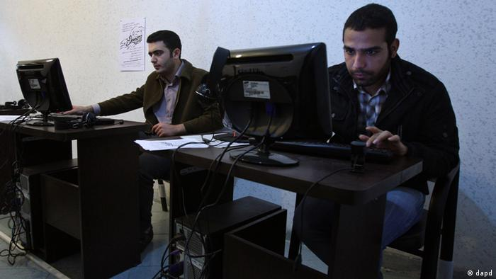Iranian students in an Internet café