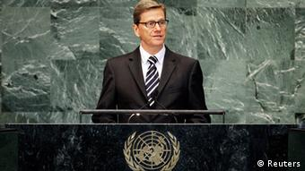 Source News Feed: EMEA Picture Service ,Germany Picture Service German Foreign Minister Guido Westerwelle speaks during the high-level meeting of the General Assembly on the Rule of Law at the United Nations headquarters in New York September 24, 2012. REUTERS/Eduardo Munoz (UNITED STATES - Tags: POLITICS)