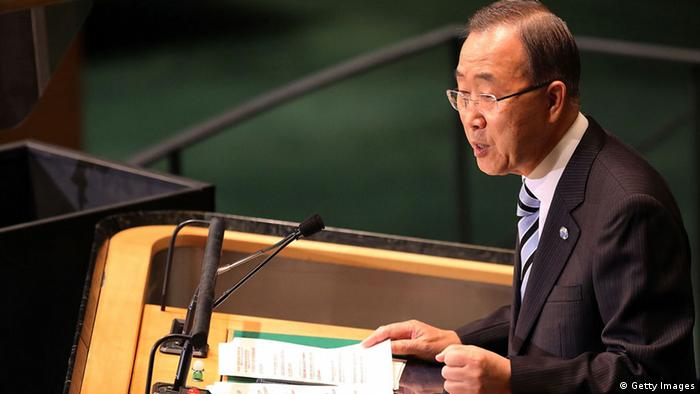 United Nations Secretary-General Ban Ki-moon addresses the United Nations General Assembly (Photo: Spencer Platt/Getty Images)
