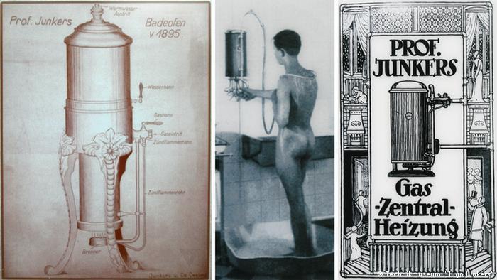 Рекламные плакаты нагревателей Юнкерса 1895, 1928 и 1919 годов