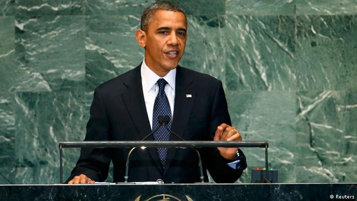 U.S. President Barack Obama addresses the 67th United Nations General Assembly at the U.N. headquarters in New York September 25, 2012. REUTERS/Mike Segar (UNITED STATES - Tags: POLITICS)