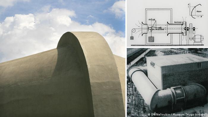 Сохранившийся фрагмент аэродинамической трубы в Дессау. Историческая фотография и проект.