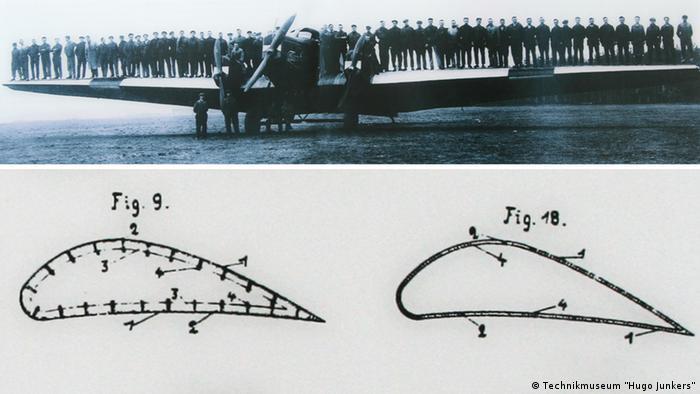 60 сотрудников фирмы Юнкерса на крыльях модели G 23 в 1924 году. Рисунок из патента 1909 года