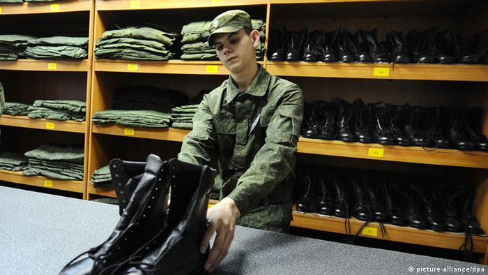 В каптерке российской армии.